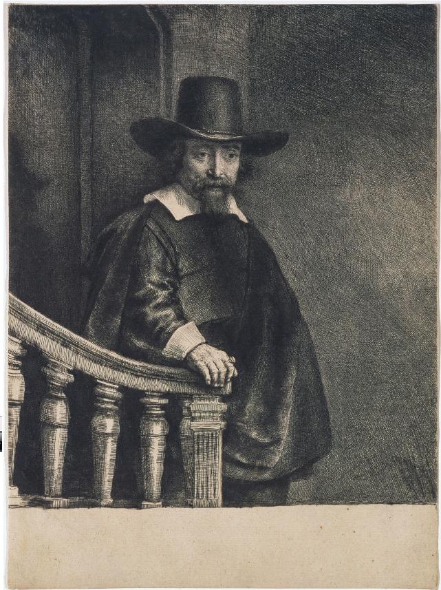 Rembrandt, Ephraim Bueno, 1647. Ets, droge naald en burijn (staat II), 241 x 177 mm., Amsterdam, Museum Het Rembrandthuis.