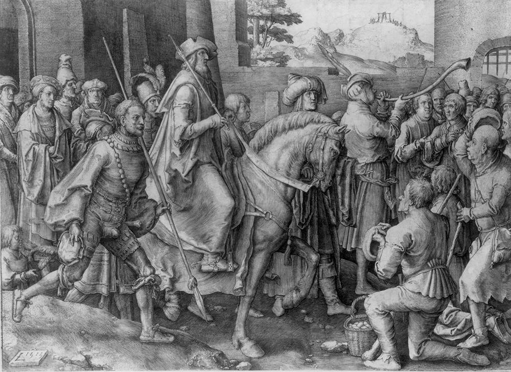 Lucas van Leyden. De triomf van Mordechai. Ets. Rembrandthuis