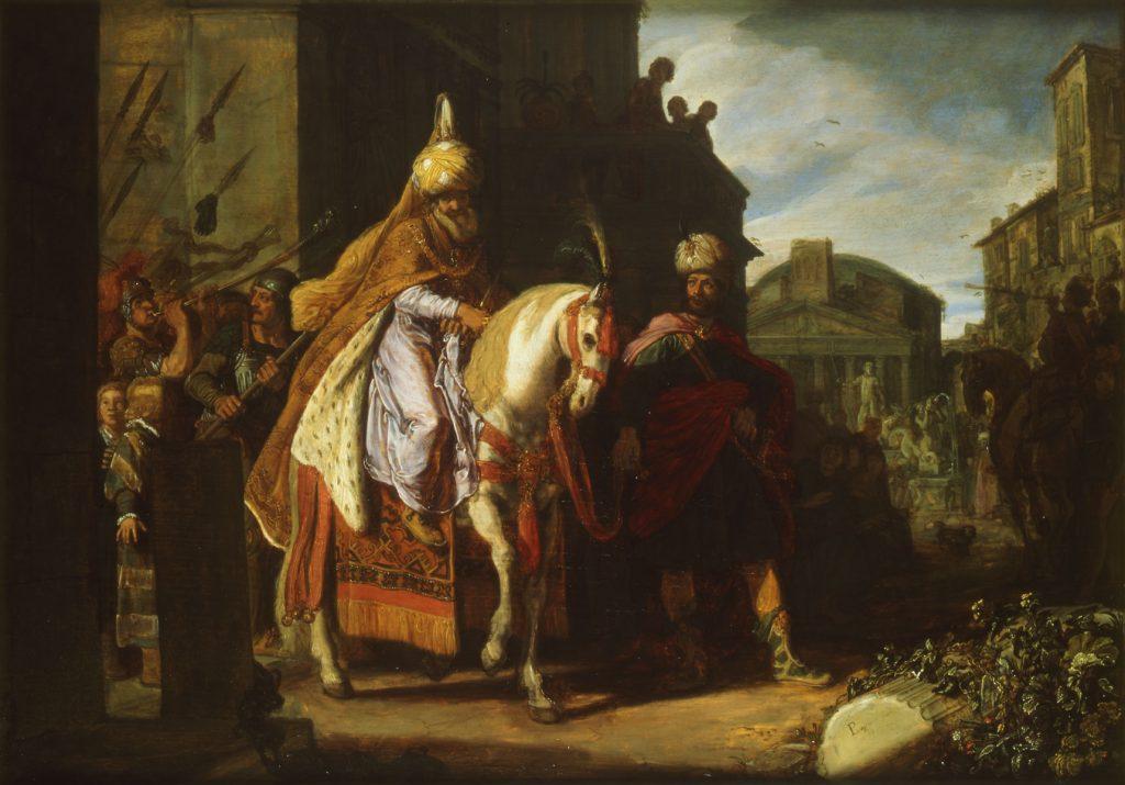 Pieter Lastman. De triomf van Mordechai. Ets. Rembrandthuis