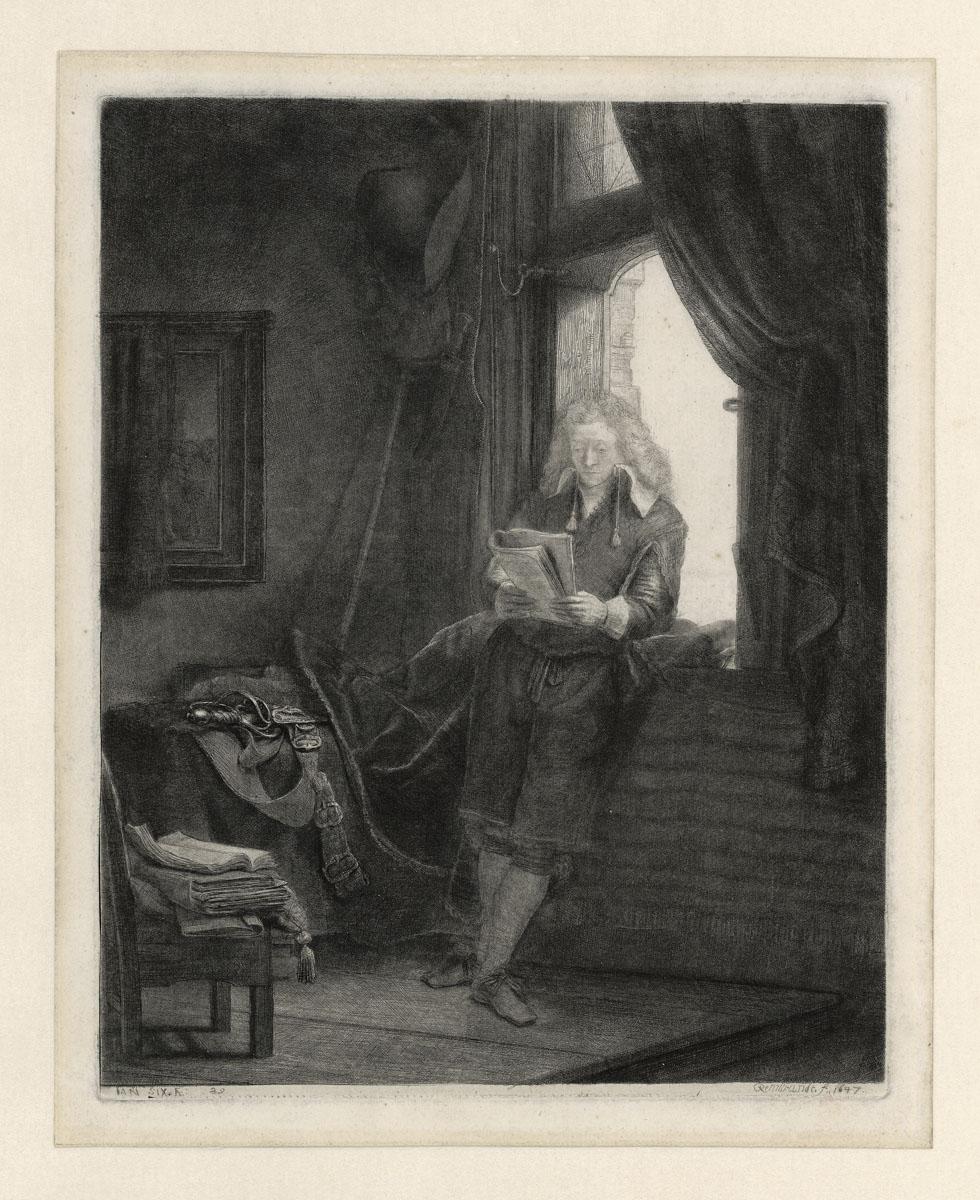 Portret Jan Six ets Amsterdam Rembrandthuis