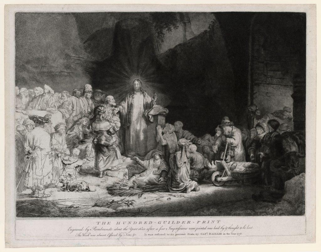 Rembrandt, Christus geneest de zieken (De Honderdguldenprent) (Ca. 1643-49). Ets, droge naald en burijn, staat II (B 74)