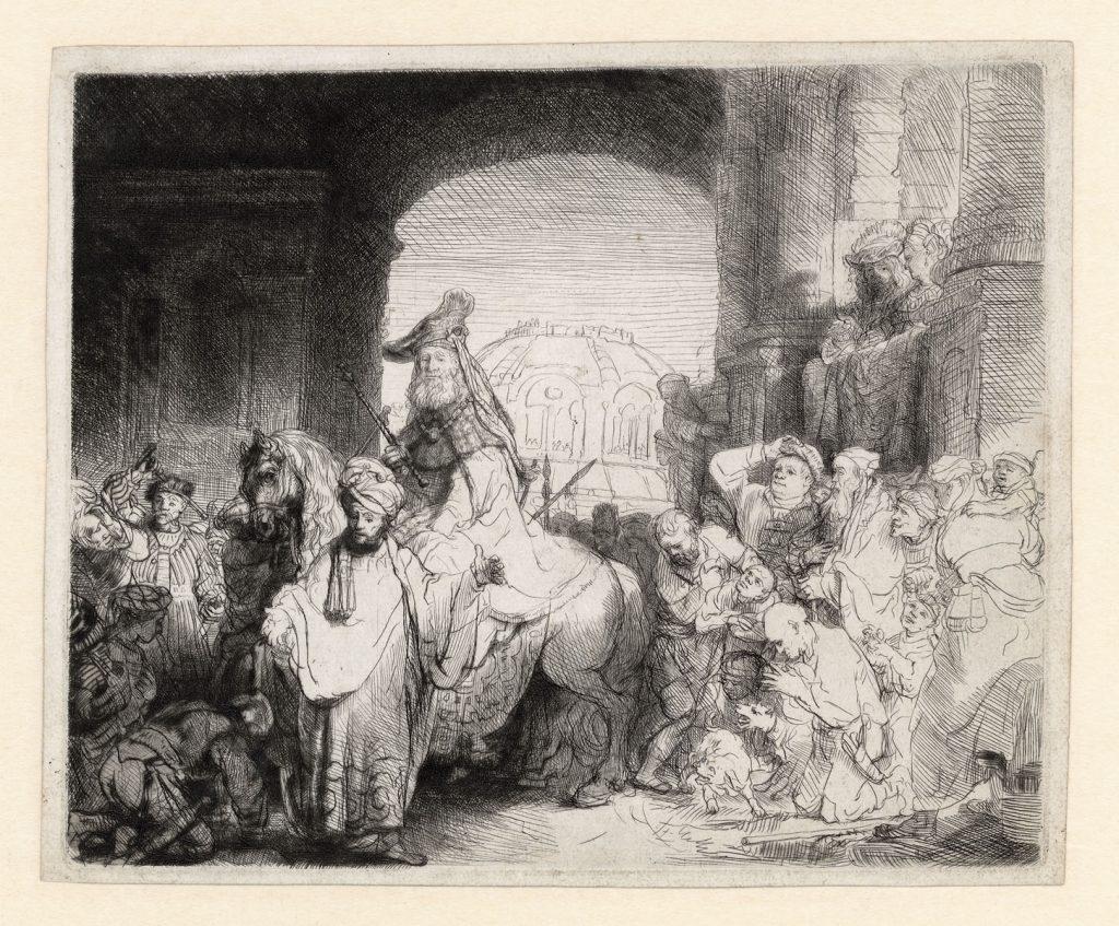 Rembrandt. De triomf van Mordechai. Ets. Rembrandthuis