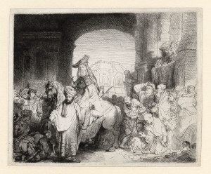 Rembrandt.-De-triomf-van-Mordechai.-Ets.-Rembrandthuis-300x248