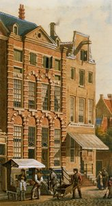 J.M.A. Rieke, Gezicht op het Rembrandthuis in 1868, signed and dated 'A Rieke/ 1868',  pencil, pen ink and watercolours, 34.6 x 19 cm