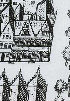 Reconstructie-tekening van de situatie omstreeks 1627/28