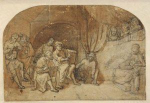Tekenen naar naaktmodel in Rembrandts atelier ca. 1650. Pen en penseel in bruin, zwart krijt, met wit gehoogd, 18 x 26,6 cm., Hessisches Landesmuseum, Darmstadt