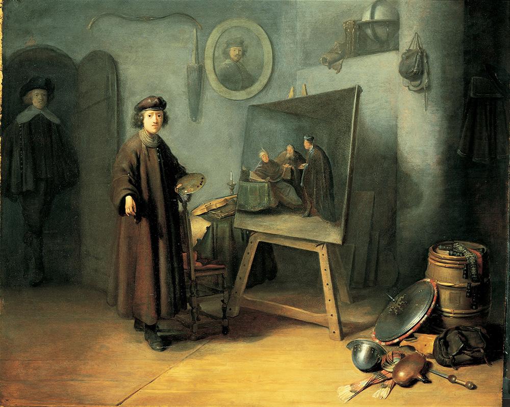 Gerrit Dou, Een schilder in zijn atelier, 1628. Paneel, 53 x 64,5 cm., Particuliere collectie