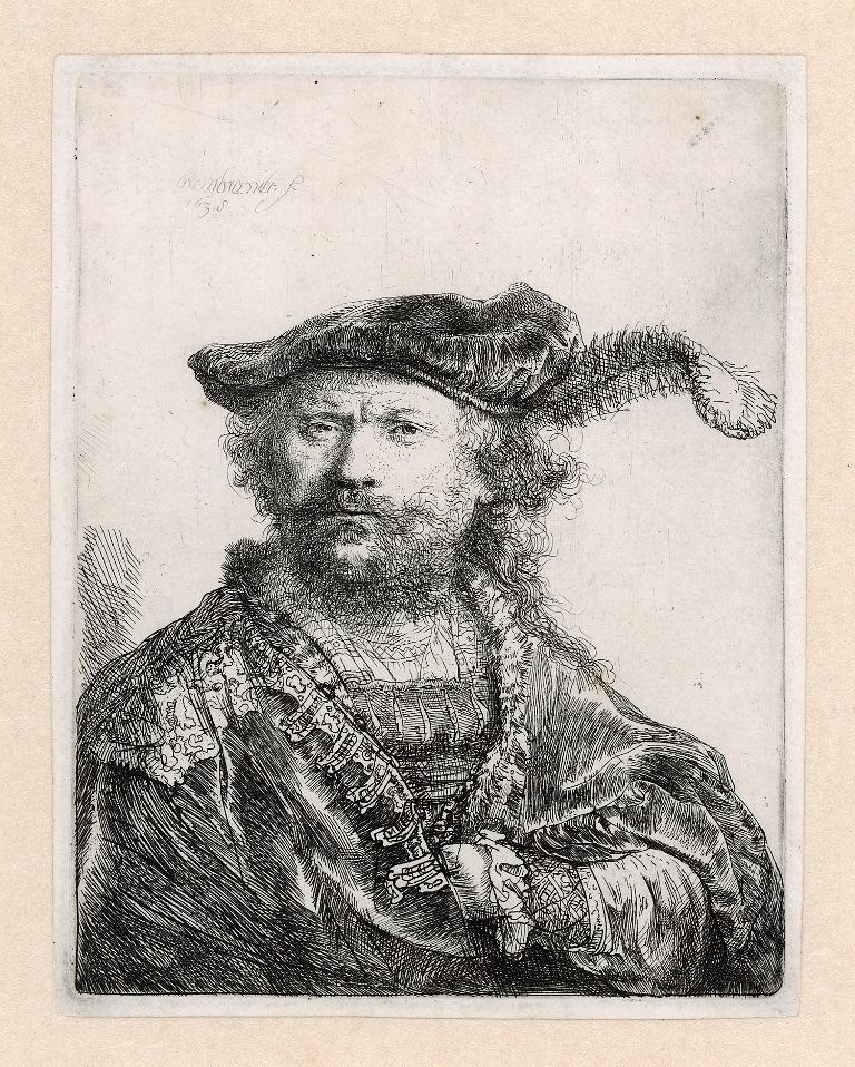 B020, Rembrandt, Zelfportret met gepluimde baret, 1638. Ets, enige staat, 134 x 104 mm, in bruikleen van het Rijksmuseum JPEG