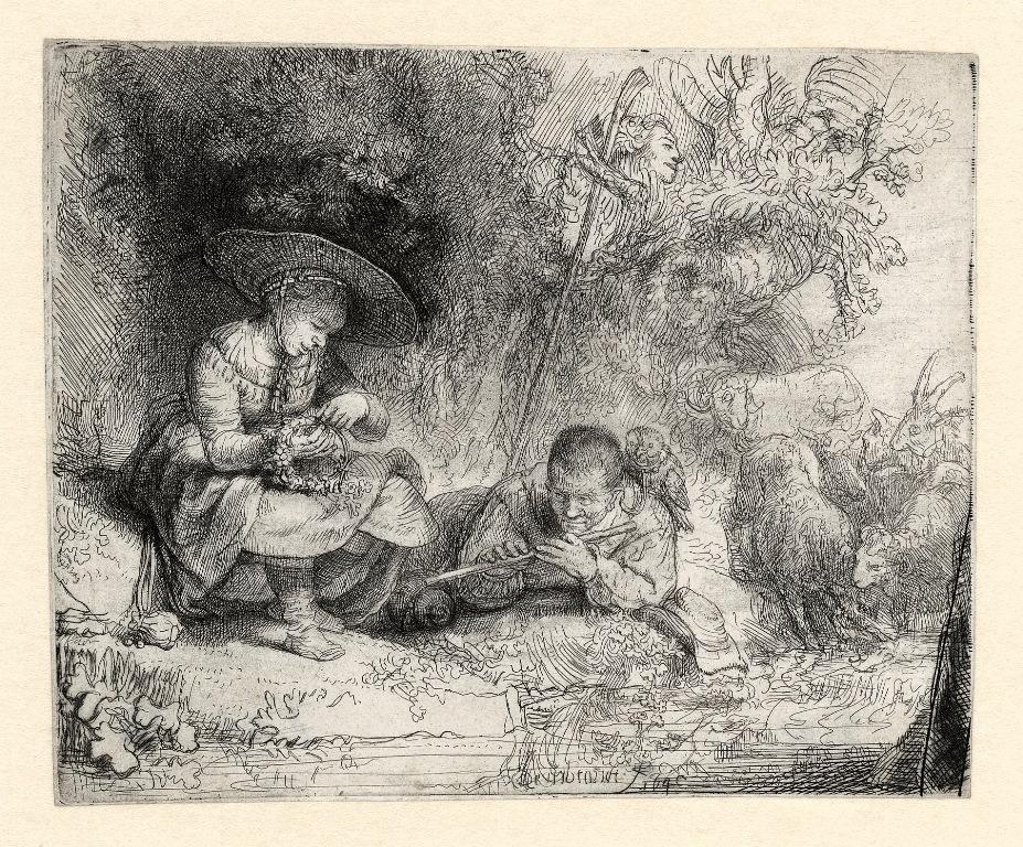 B188(III), Rembrandt, De fluitspeler ('Uylenspiegel'), 1642. Ets en drogenaald, staat III (4), 116 x 143 mm, Museum Het Rembrandthuis, JPEG
