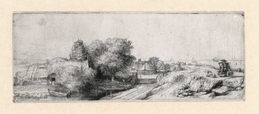 Rembrandt, Landscape with a fisherman ('The milkman'), c. 1650. Etching and drypoint, The Rembrandt House Museum.