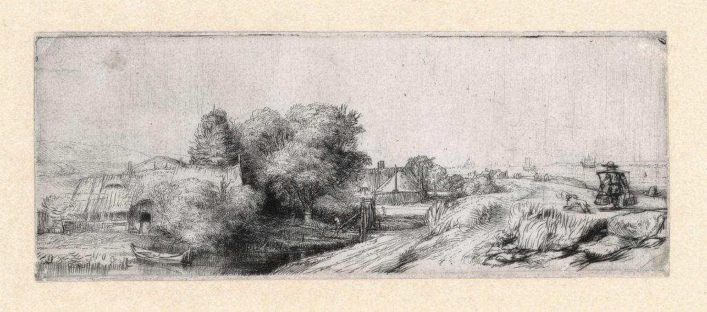 Rembrandt, 'Het melkboertje', ca. 1650. Ets en droge naald, Museum Het Rembrandthuis.