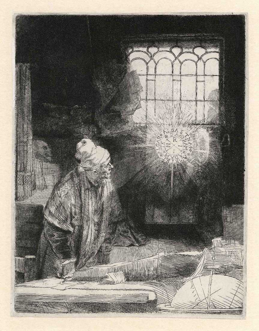 Rembrandt, 'Faust', c. 1652 (Etching, drypoint and burin, The Rembrandt House Museum)