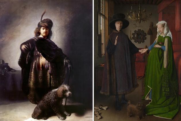Rembrandt, Zelfportret in Oosterse kleding, 1631 (Petit Palais, Parijs) en Jan van Eyck, Portret van Giovanni Arnolfini en zijn vrouw, 1434 (National Gallery, Londen).