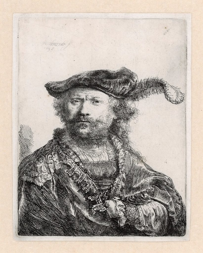 Rembrandt, Zelfportret met gepluimde baret, 1638