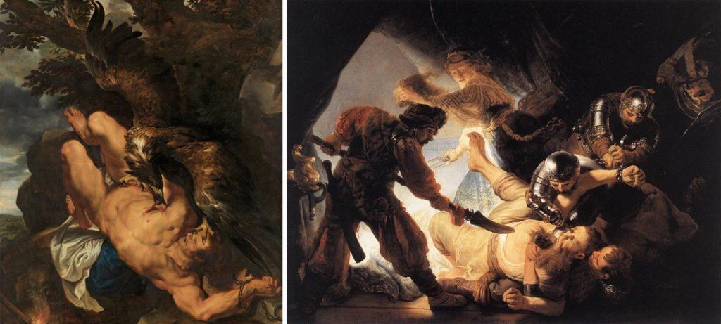 Peter Paul Rubens, Prometheus geketend, ca. 1611/12-1618. Philadelphia Museum of Art, Philadelphia en Rembrandt, De blindmaking van Samson, 1636. Städel Museum, Frankfurt am Main.
