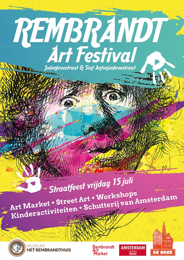 Poster-verjaardag-Rembrandt-art-market-amsterdam-Jodenbreestraat