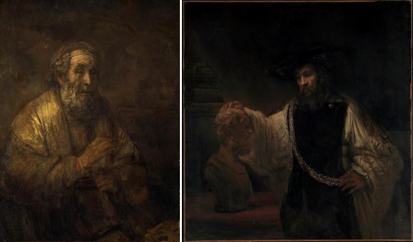 Links: Rembrandt, Homerus, 1663 (Mauritshuis, Den Haag). Rechts: Rembrandt, Aristoteles met een buste van Homerus, 1653 (The Metropolitan Museum of Art, New York)