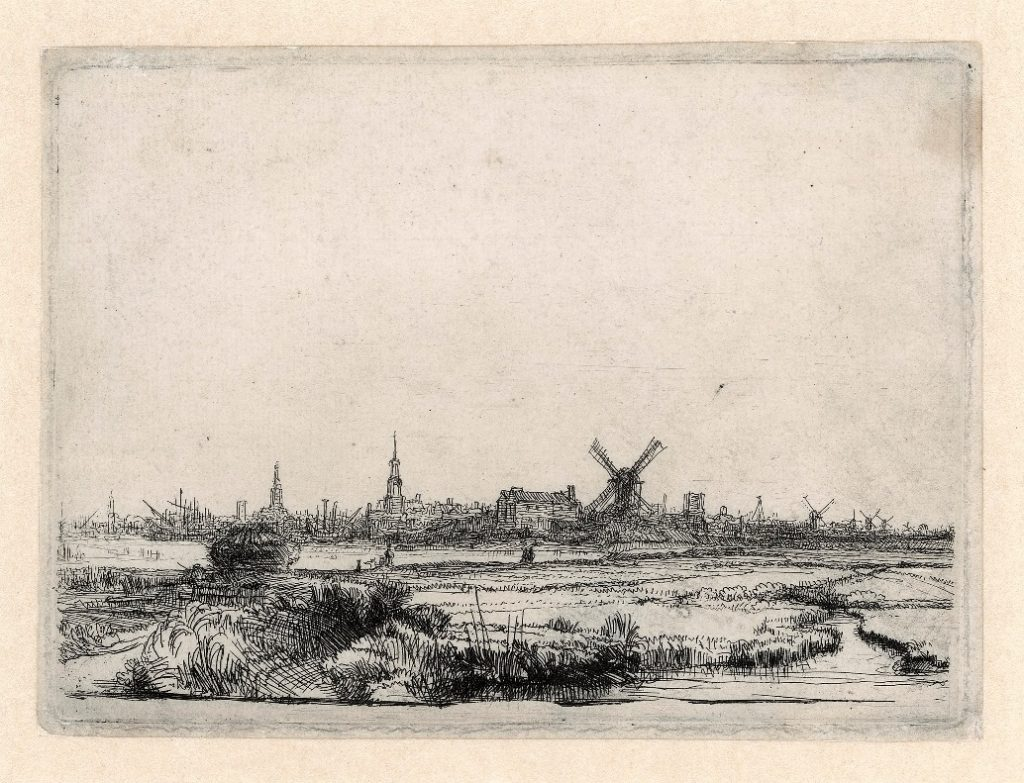 Rembrandt, View of Amsterdam, c. 1640-1641.