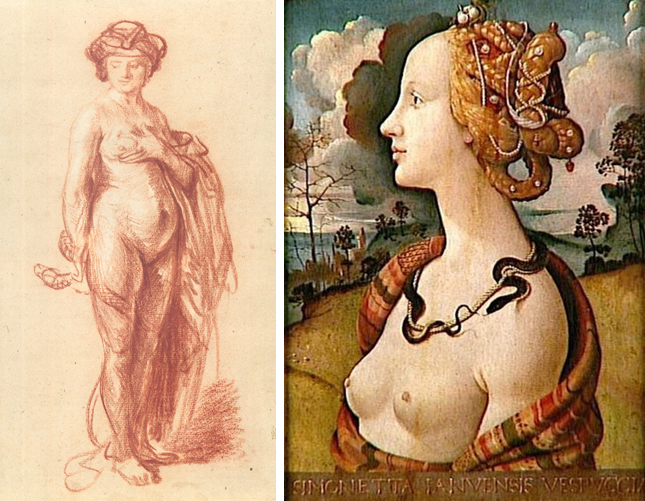 Rembrandt, A Nude Woman with a Snake, c. 1636 (J. Paul Getty Museum, Los Angeles) and Piero di Cosimo, Portrait of a woman, said to be Simonetta Vespucci, c. 1490 (Musée Condé, Chantilly)
