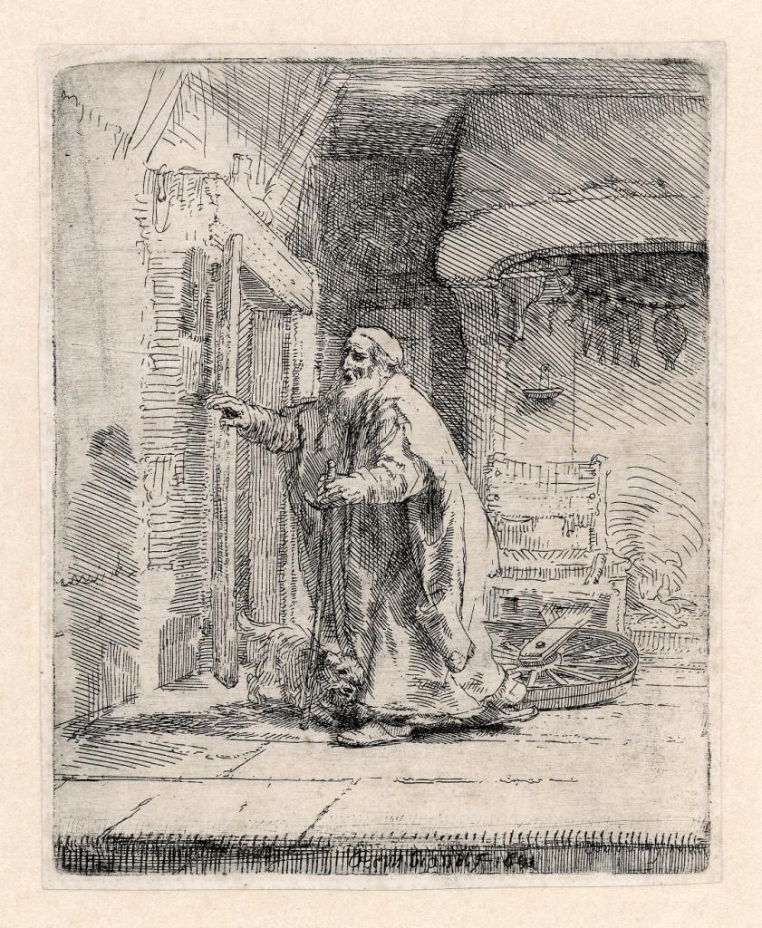 Rembrandt, De blinde Tobit, 1651. Ets en droge naald, Museum Het Rembrandthuis, Amsterdam.