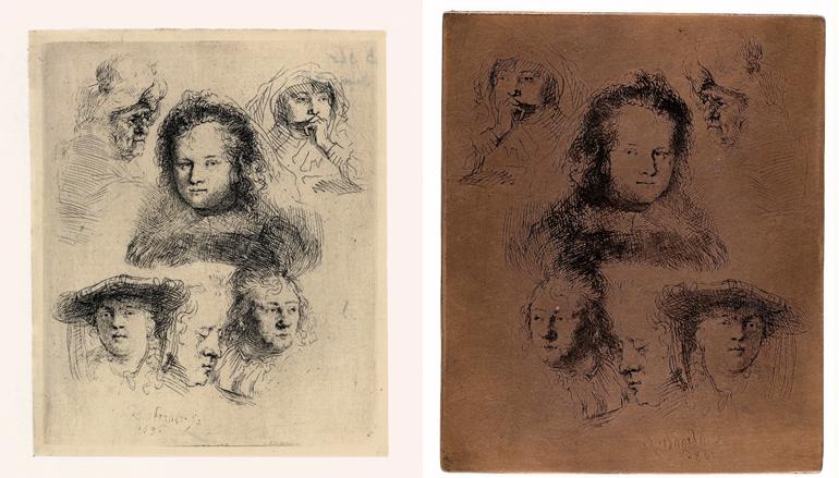 Links: Rembrandt, Schetsblad met vijf koppen van Saskia en één van een oudere vrouw, 1636. Ets, enige staat, Museum Het Rembrandthuis, Amsterdam.  Rechts: Rembrandt, Etsplaat van 'Schetsblad met vijf koppen van Saskia en één van een oudere vrouw', 1636. Koper, Museum Het Rembrandthuis, Amsterdam.