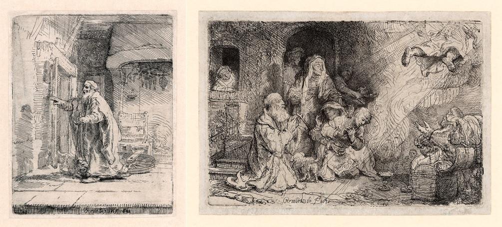 Rembrandt, De blinde Tobit, 1651 en Rembrandt, De engel verlaat de familie van Tobit, 1641