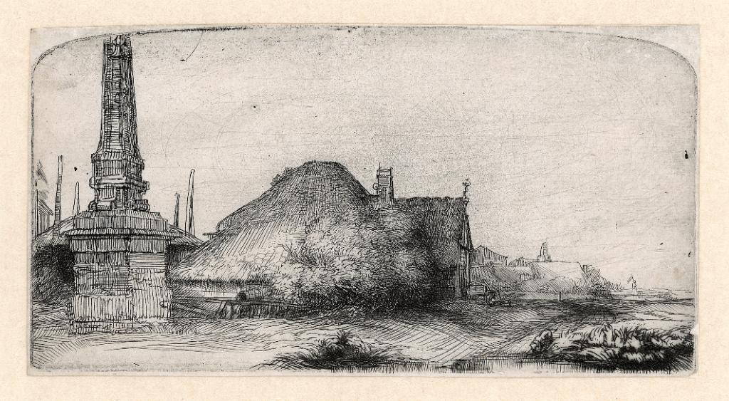 Rembrandt, Landscape with a obelisk, c. 1650