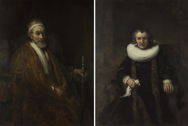 Links: Rembrandt, Portret van Jacob Trip, ca. 1661. The National Gallery, Londen Rechts: Rembrandt, Portret van Margaretha de Geer, ca. 1661. The National Gallery, Londen.