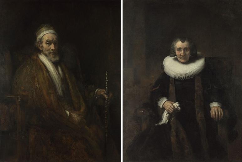 Links: Rembrandt, Portret van Jacob Trip, ca. 1661. The National Gallery, Londen Rechts: Rembrandt, Portret van Margaretha de Geer, ca. 1661. The National Gallery, Londen.
