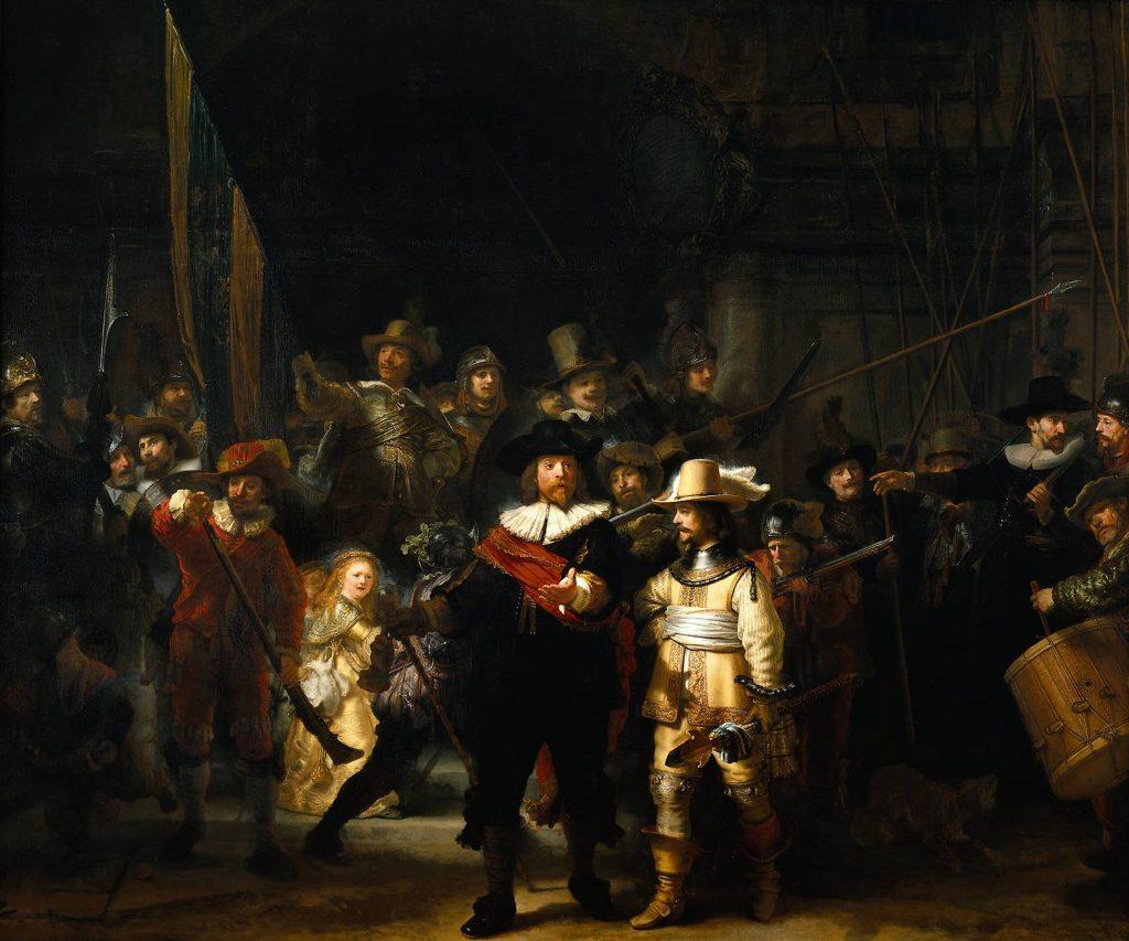 Rembrandt, Schutters van wijk II onder leiding van kapitein Frans Banninck Cocq, bekend als 'De Nachtwacht', 1642. Rijksmuseum, Amsterdam