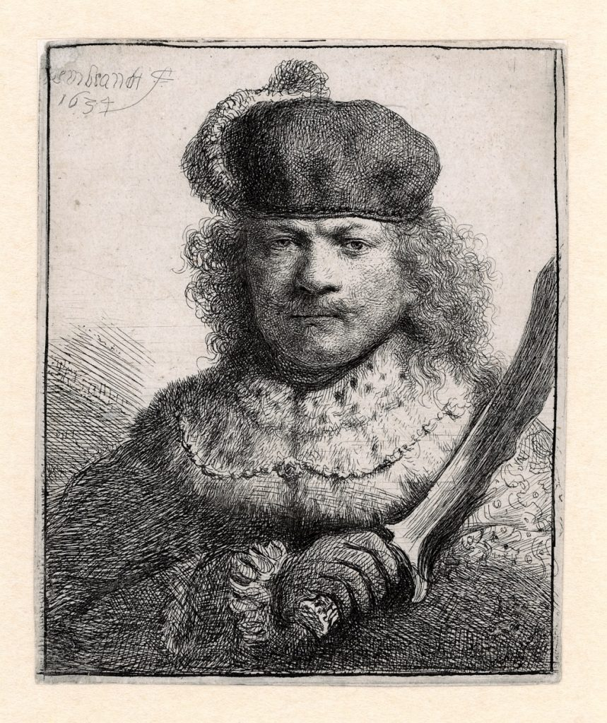 Rembrandt, Zelfportret met opgeheven sabel, 1634. Museum Het Rembrandthuis, Amsterdam.