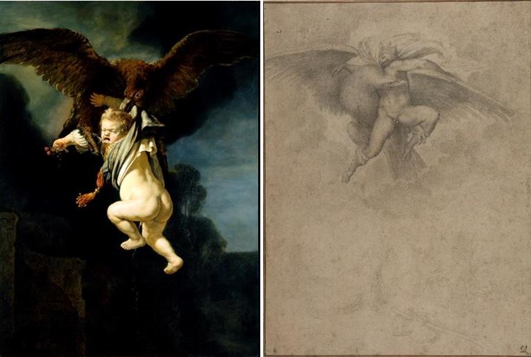 Rembrandt, De roof van Ganymedes, 1635 (Gemäldegalerie Alte Meister, Dresden) en een kopie van Michelangelo's Roof van Ganymedes, 1532 (Harvard Art Museums, Fogg Museum, Massachusetts)