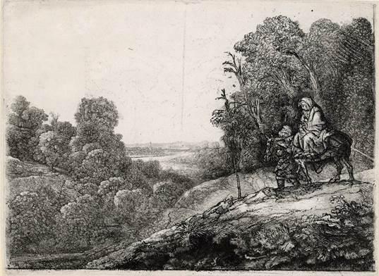 B056(VI) Rembrandt, De vlucht naar Egypte, op een plaat van Hercules Segers, ca. 1652, ets, burijn en droge naald, staat V (6), 212 x 284 mm, Museum Het Rembrandthuis, Amsterdam