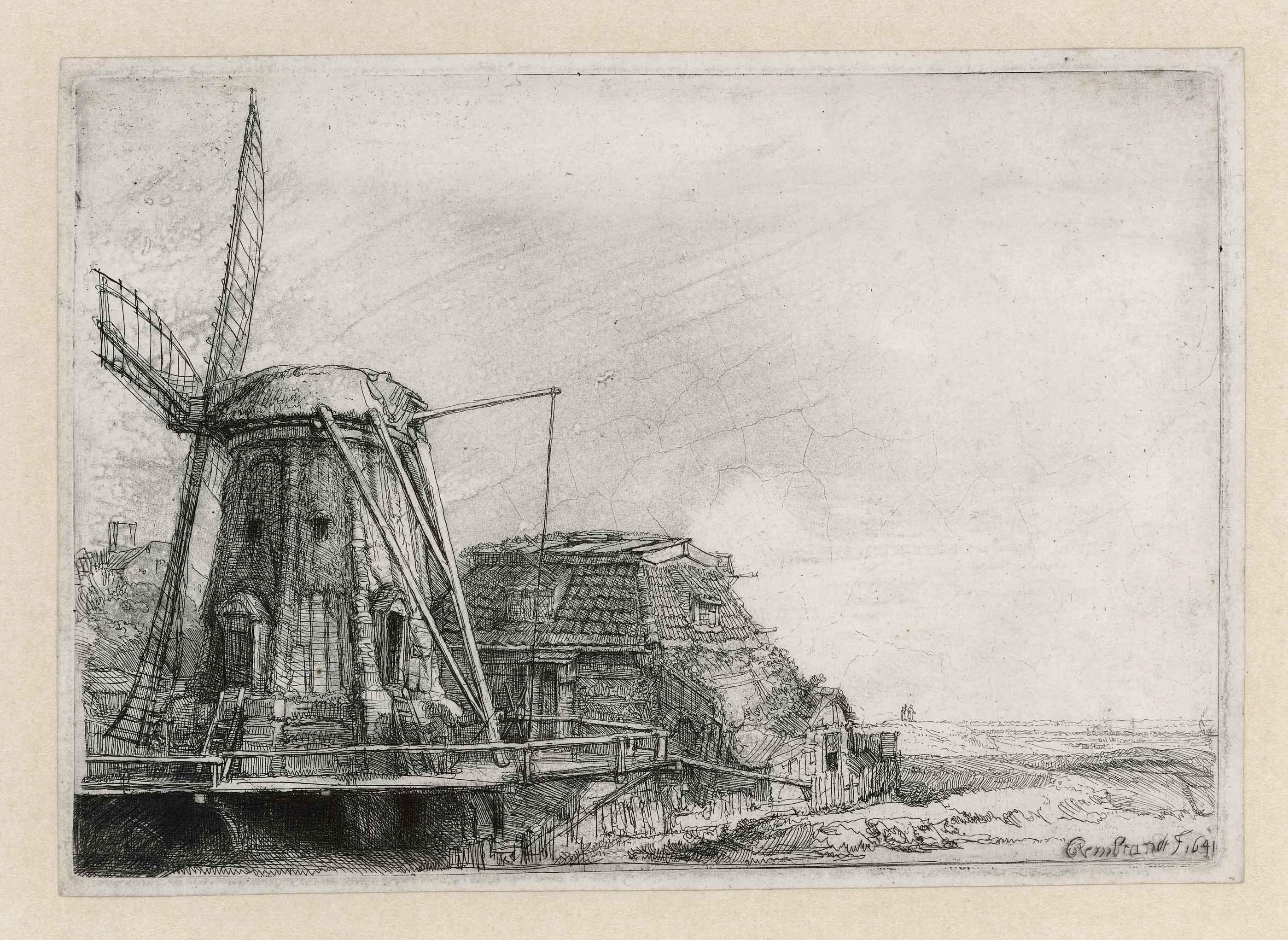 Rembrandt, De molen, 1641. Ets, enige staat. Museum Het Rembrandthuis, Amsterdam