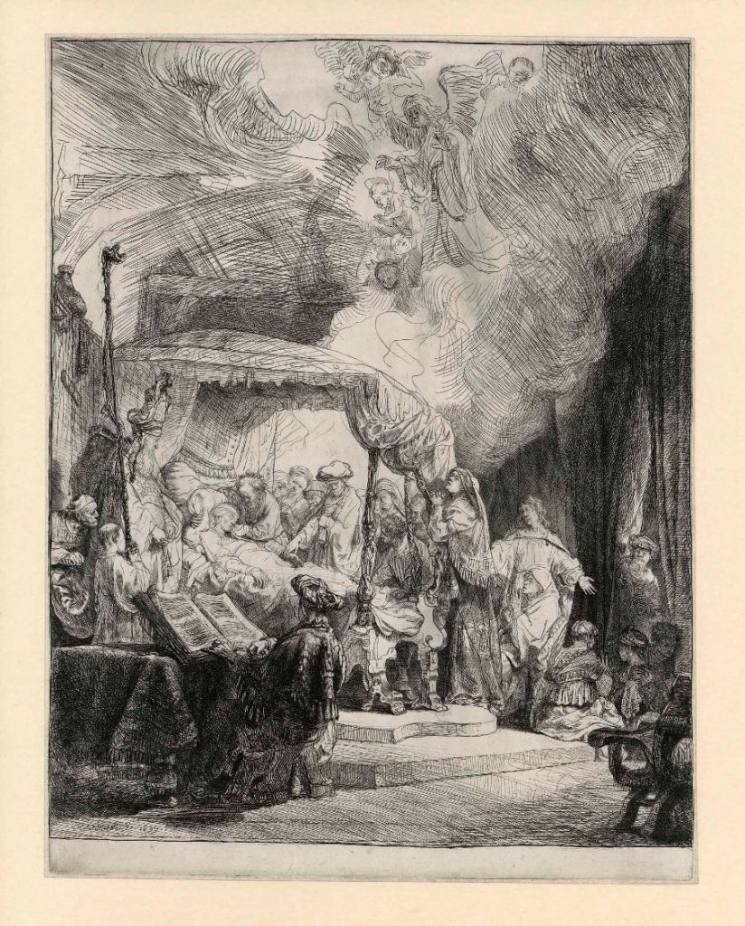 Rembrandt, The death of the Virgin, 1639. Etching and drypoint, state II (5), The Rembrandt House Museum, Amsterdam.