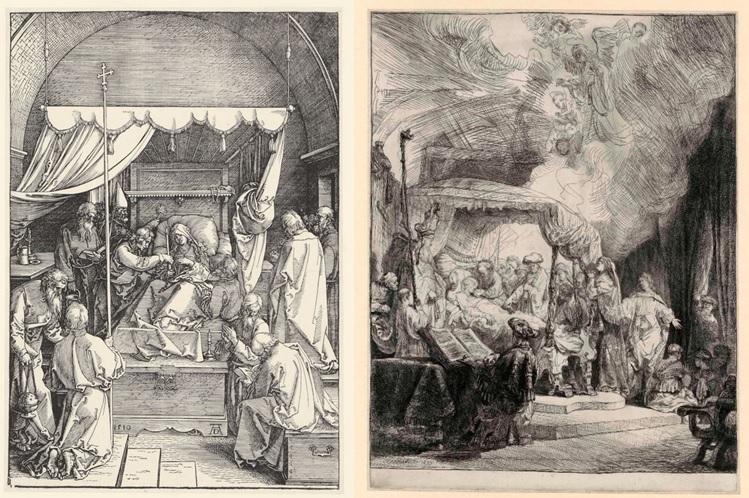 Links: Albrecht Dürer, Sterfbed van Maria, 1510. Houtsnede, Museum Het Rembrandthuis. Rechts: Rembrandt, Sterfbed van Maria, 1639. Ets, Museum Het Rembrandthuis, Amsterdam.