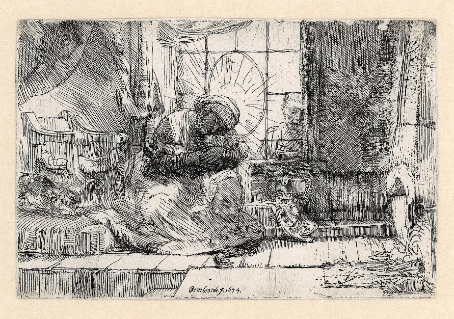 Rembrandt, Maria met kind, met de kat en de slang, 1654. Ets, staat I (2), Museum Het Rembrandthuis, Amsterdam