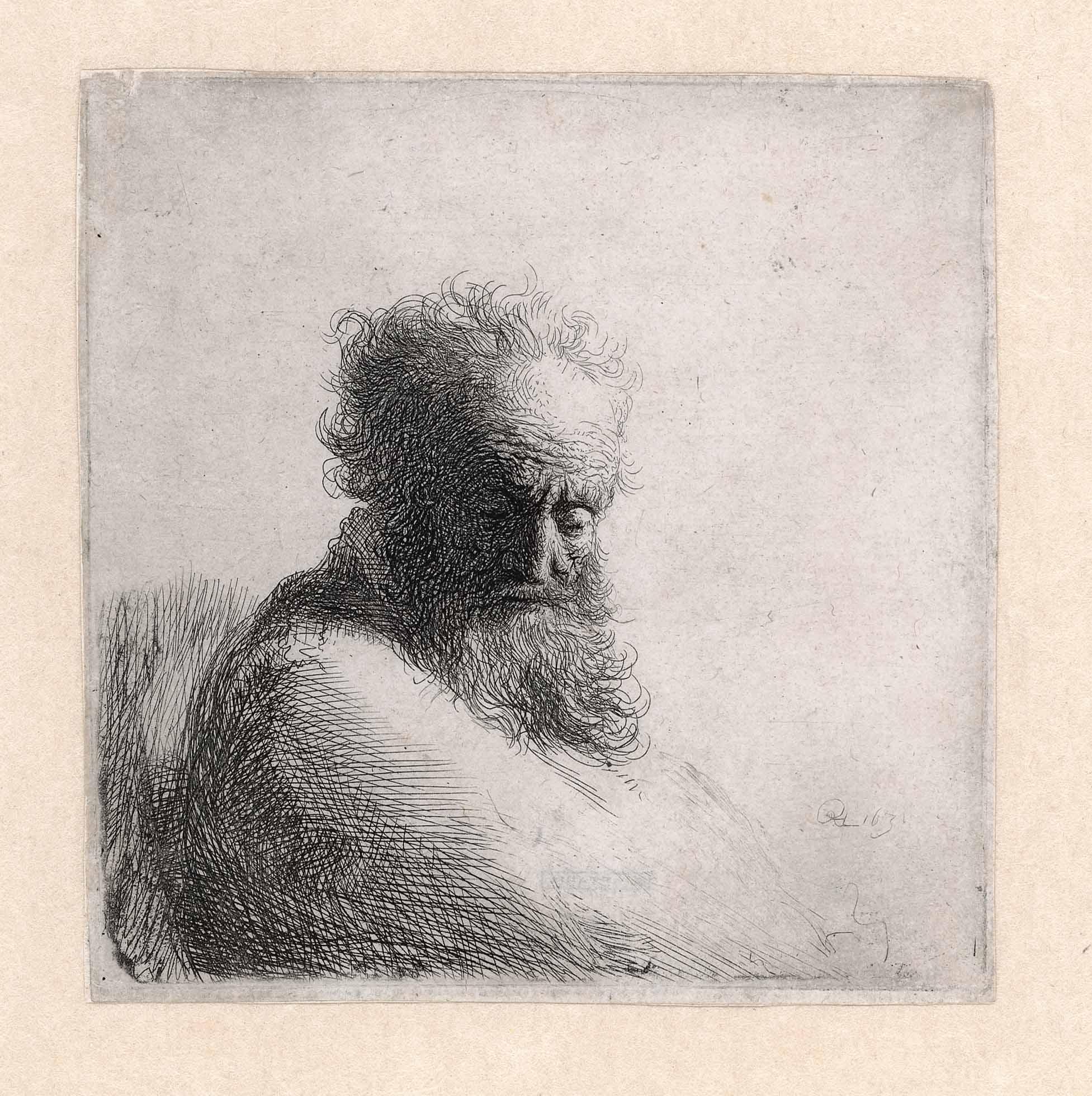 Rembrandt, Oude man, naar beneden kijkend, 1631. Ets, staat II (3), Museum Het Rembrandthuis, Amsterdam