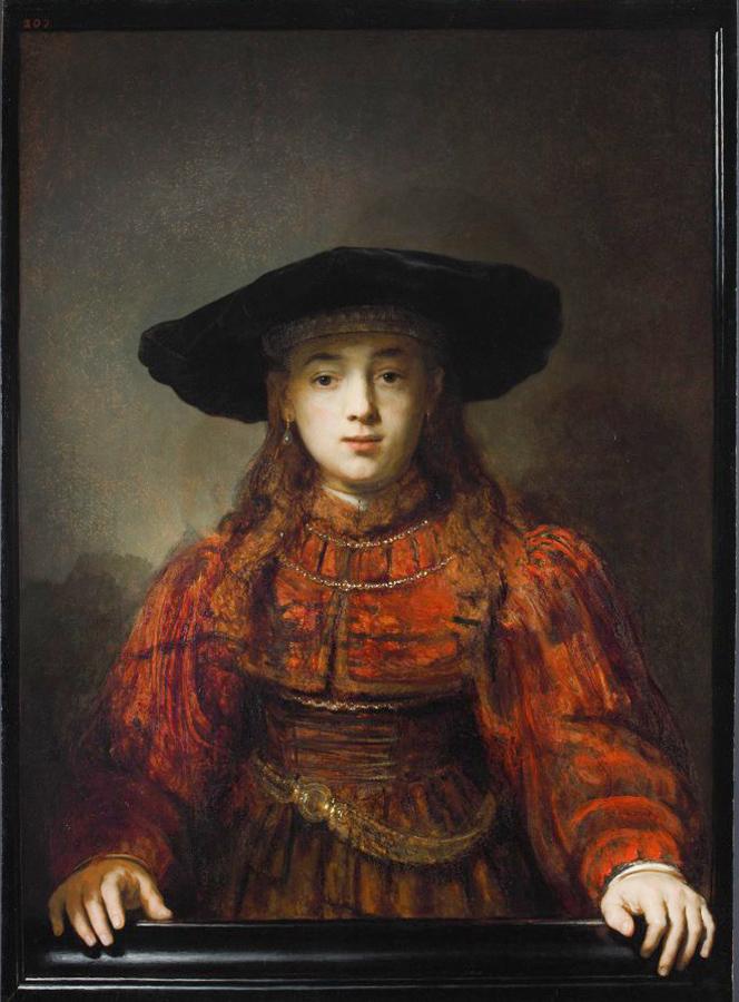 Rembrandt, Meisje in een schilderijlijst, 1641. Koninklijk Paleis, Warschau.