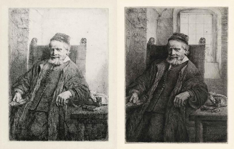Rembrandt, Jan Lutma, goud- en zilversmid, 1656. Ets, burijn en droge naald, staat I en III (5). Museum Het Rembrandthuis, Amsterdam