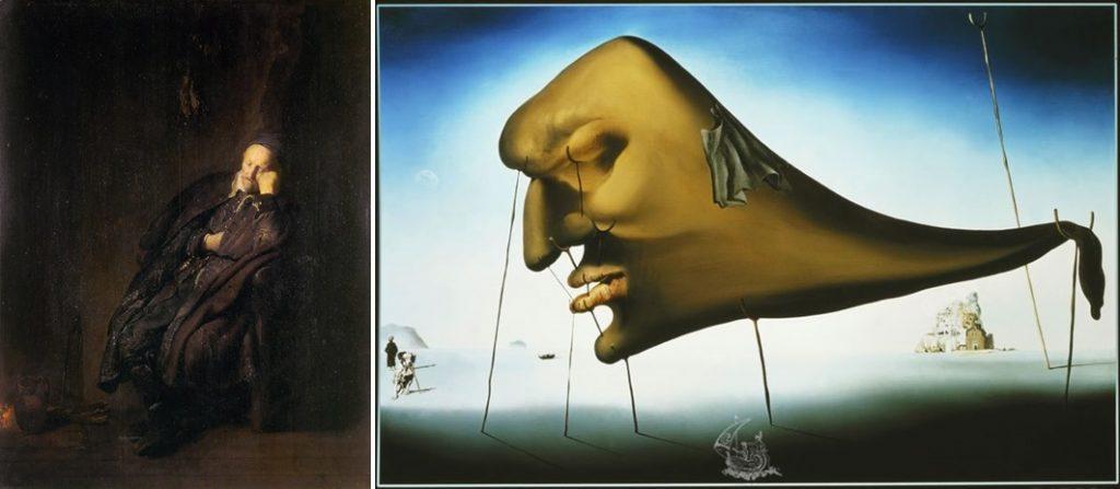 Rembrandt, Slapende oude man, 1629 (Galleria Sabauda, Turijn) en Salvador Dalí, Le sommeil (slaap), 1937 (Privécollectie)