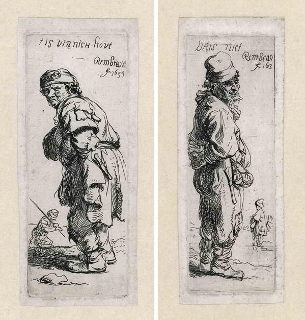 Links: Rembrandt, Een boer, uitroepend: 'tis vinnich kout', 1634. Ets, enige staat. Museum Het Rembrandthuis, Amsterdam. | Rechts: Rembrandt, Een boer, antwoordend: 'Dats niet', 1634. Ets, enige staat. Museum Het Rembrandthuis, Amsterdam.