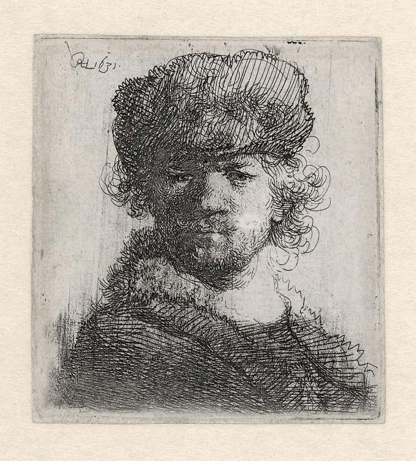 Rembrandt, Zelfportret met bontmuts, 1631. Ets, enige staat, Museum Het Rembrandthuis, Amsterdam.