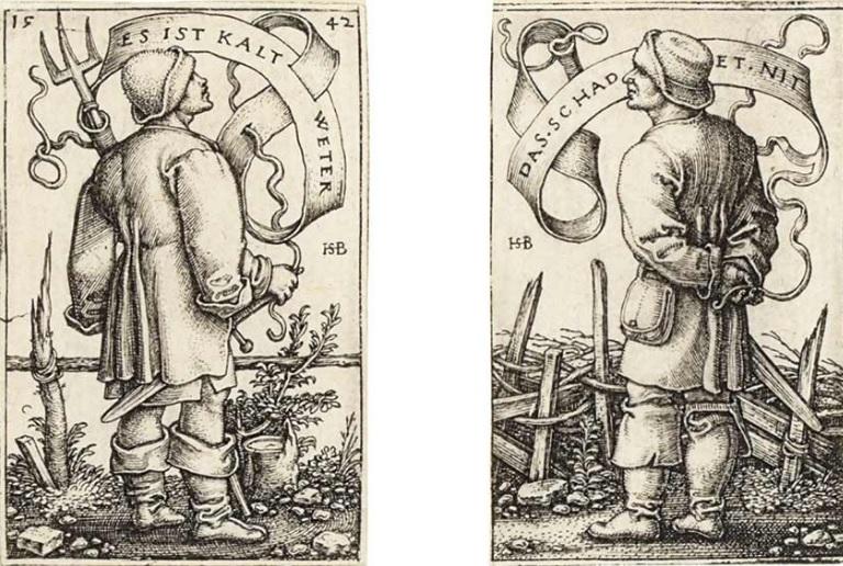 Links: Sebald Beham, Een boer, uitroepend: 'Es ist kalt Weter', 1542. Museum Het Rembrandthuis, Amsterdam| Rechts: Sebald Beham, Een boer, antwoordend: 'Das schadet nit', 1542. Museum Het Rembrandthuis, Amsterdam.