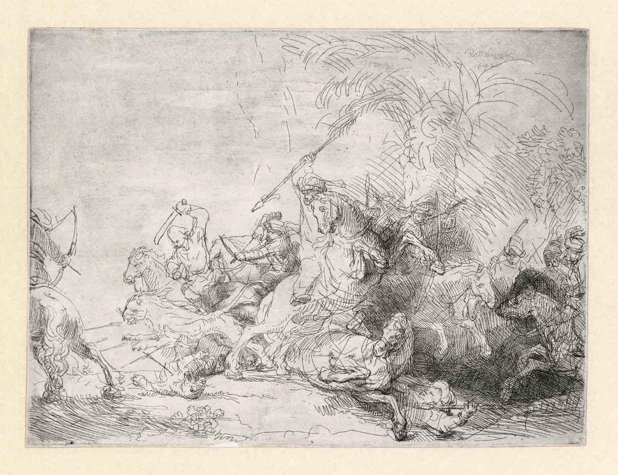 Rembrandt, De grote leeuwenjacht, 1641. Ets en droge naald, staat II (2). Museum Het Rembrandthuis, Amsterdam