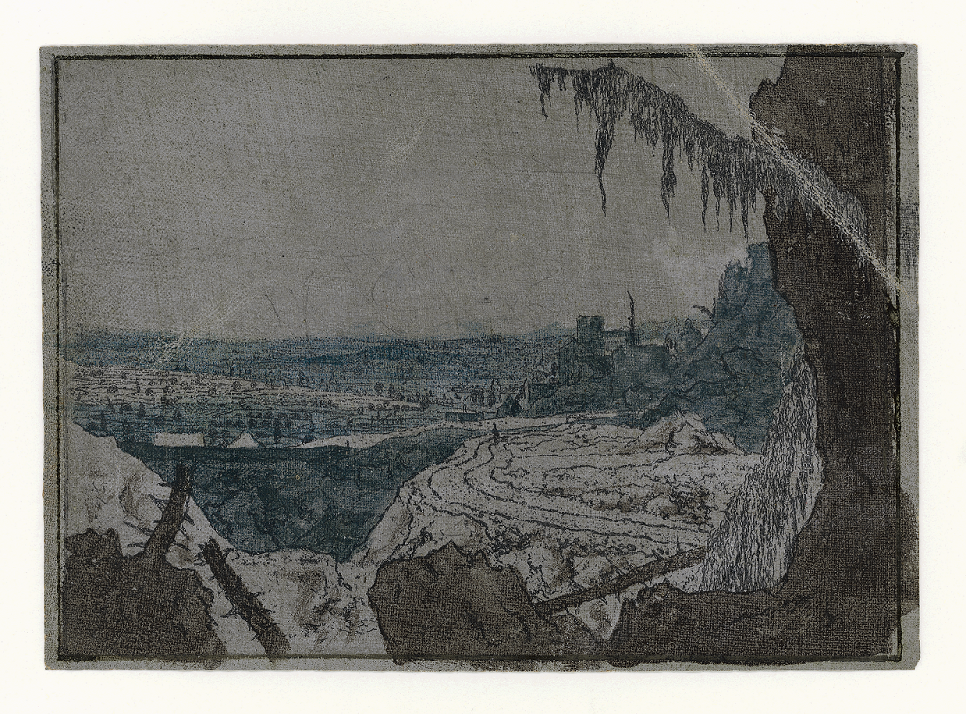 Hercules Segers, Landscape with Fir Branch, c. 1625-30, etching, printed in black ink on light grey prepared canvas, worked up with two shades of blue and brown watercolour, state I (3), 146 x 205 mm, Amsterdam, The Rembrandt House Museum.