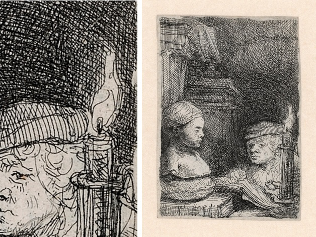 Rembrandt, Leerling tekenend naar een gipsmodel, ca. 1641. Ets, Staat II (3), Museum Het Rembrandthuis, Amsterdam