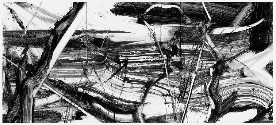 Robert Zandvliet, zonder titel, (monotype in de Varick Series, groot format horizontal IV), 25-10-1999, monotype, inkt op papier, 97.8 x 200.7 cm., bezit van de kunstenaar