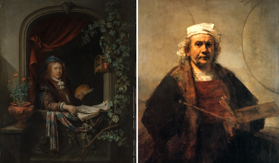 Gerrit Dou, Self-Portrait, c. 1665 (The Metropolitan Museum of Art, New York) and Rembrandt, Self-portrait with two circles, c. 1665-1669 (Kenwood House, London).