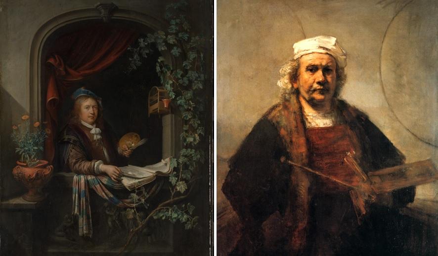 Gerrit Dou, Zelfportret, ca. 1665 (The Metropolitan Museum of Art, New York) en Rembrandt, Zelfportret met twee cirkels, ca. 1665-1669 (Kenwood House, Londen).